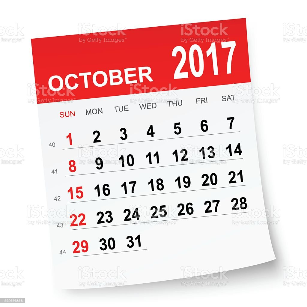 October 2017 calendar vector art illustration