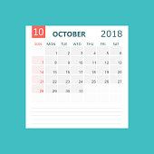 business vector october 2018 calendar calendar planner design template week starts on sunday