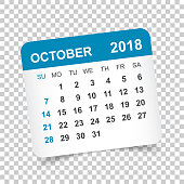 october 2018 calendar calendar sticker design template week starts on sunday