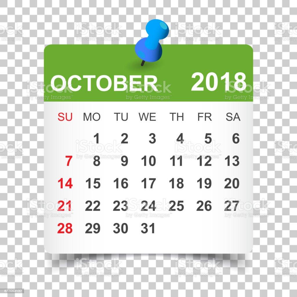 october 2018 calendar calendar sticker design template week starts on sunday business vector