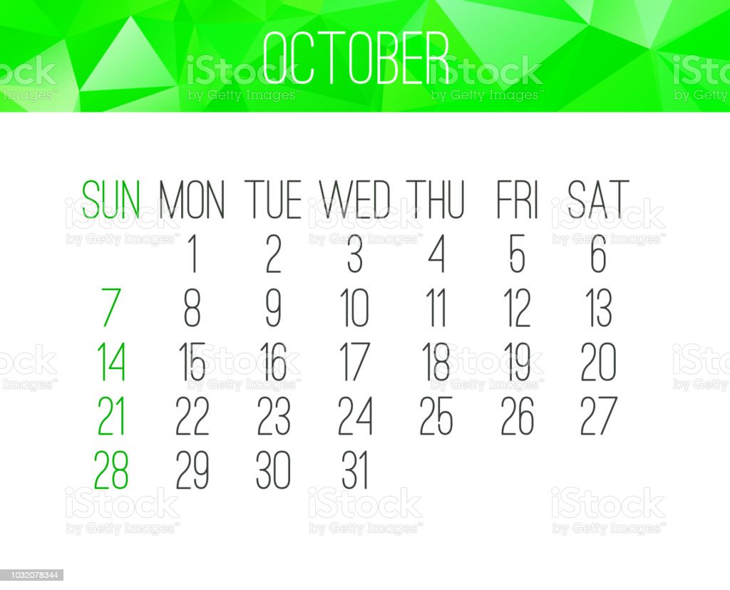 october 2018 calendar royalty free october 2018 calendar stock vector art more images