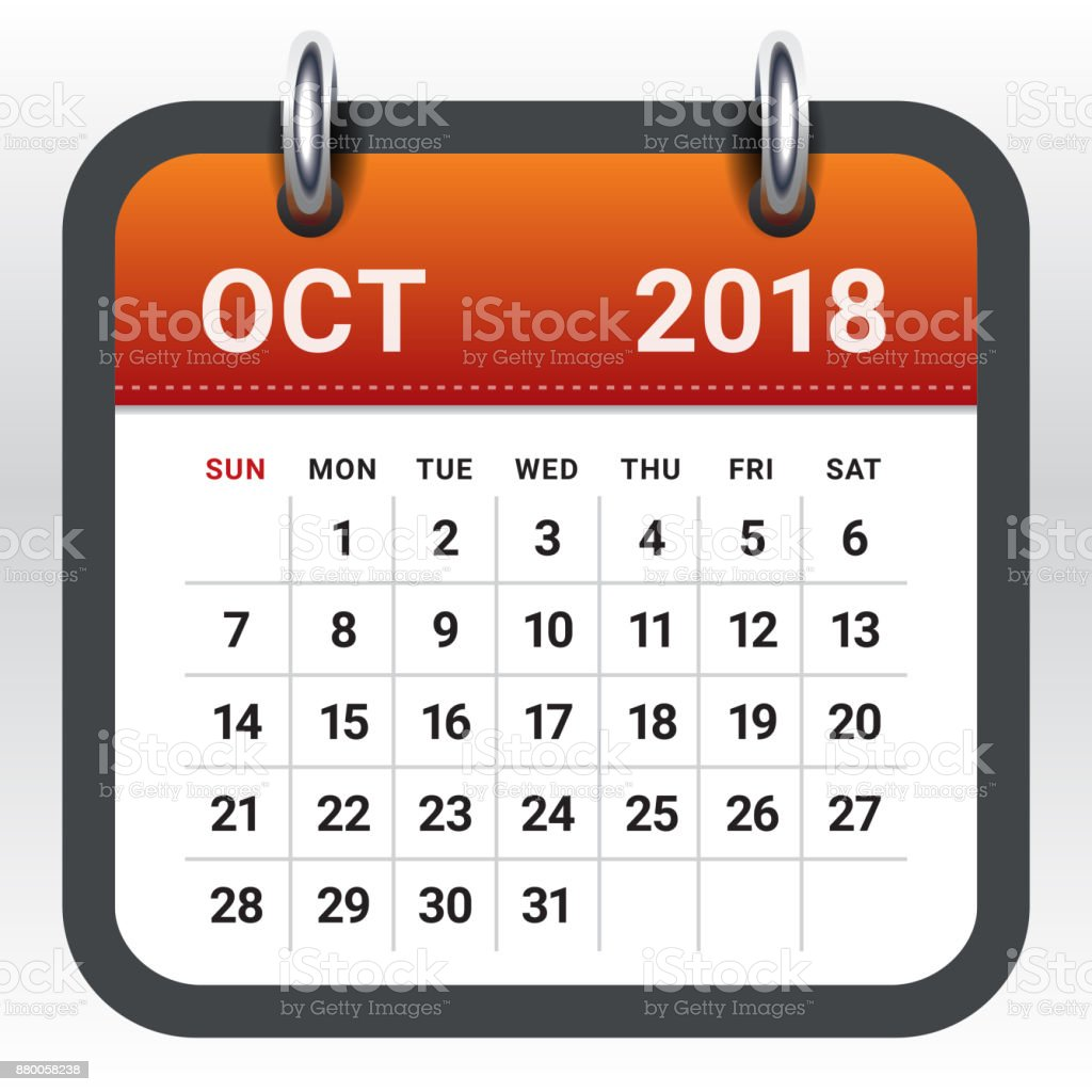 october 2018 calendar vector illustration royalty free october 2018 calendar vector illustration stock vector art