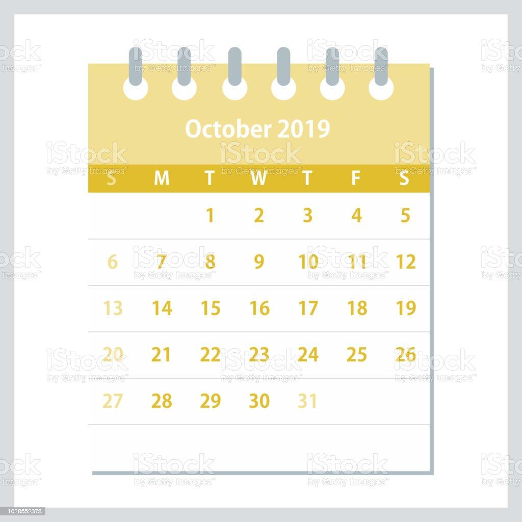 october 2019 monthly calendar