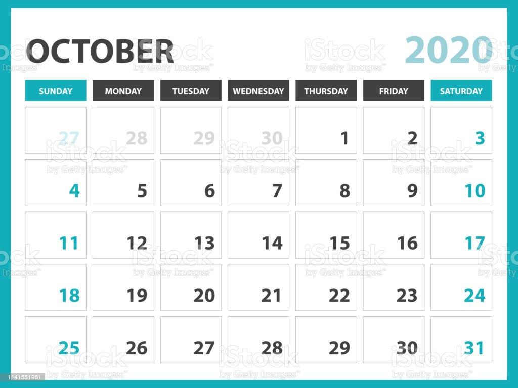 Calendrier Octobre 2020.Octobre 2020 Calendrier Modele Calendrier De Bureau Mise En