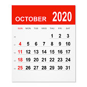 October 2020 calendar isolated on a white background. Need another version, another month, another year... Check my portfolio. Vector Illustration (EPS10, well layered and grouped). Easy to edit, manipulate, resize or colorize.