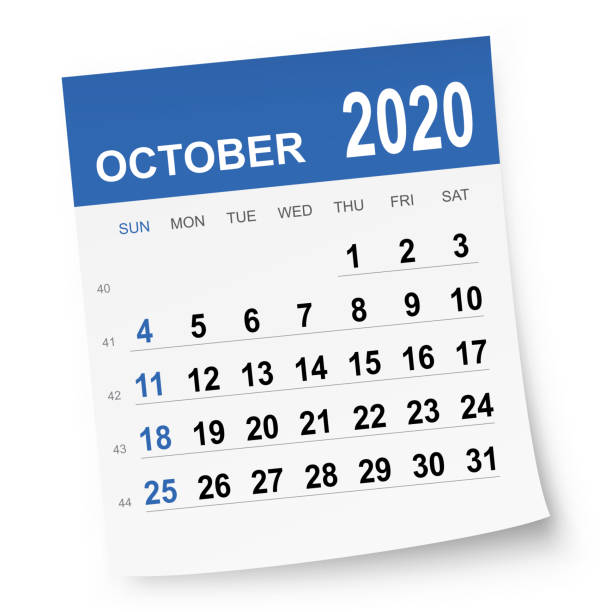 October 2020 Calendar vector art illustration