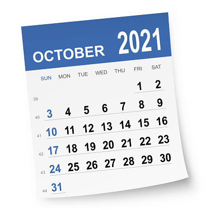 October 2021 calendar isolated on a white background. Need another version, another month, another year... Check my portfolio. Vector Illustration (EPS10, well layered and grouped). Easy to edit, manipulate, resize or colorize.