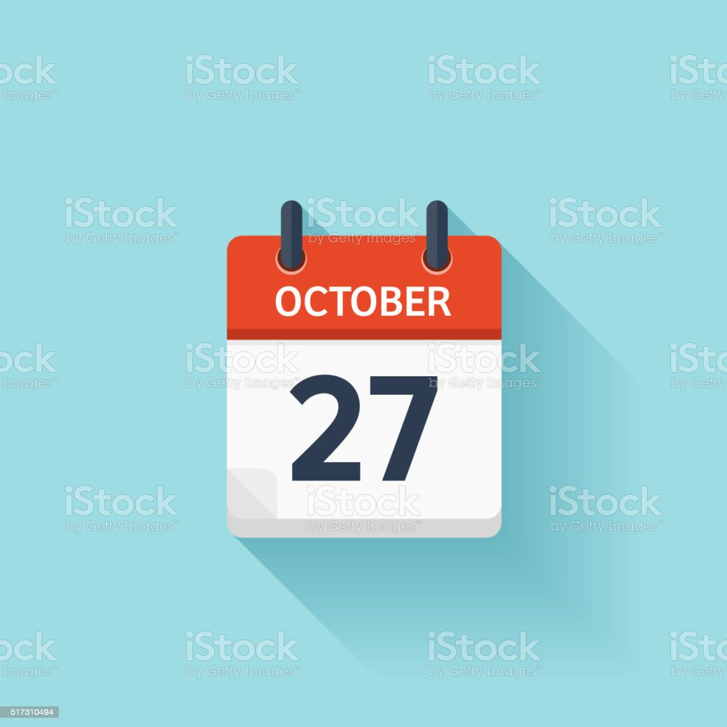 October 277 . Vector flat daily calendar icon. Date and time vector art illustration