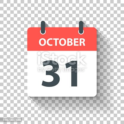 October 31. Calendar Icon with long shadow in a Flat Design style. Daily calendar isolated on blank background for your own design. Vector Illustration (EPS10, well layered and grouped). Easy to edit, manipulate, resize or colorize.