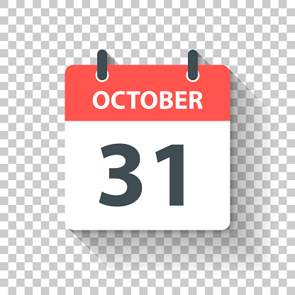 October 31 - Daily Calendar Icon in flat design style