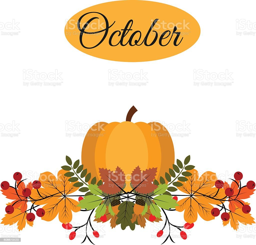 October banner with pumpkin, autumn leaves and berries vector art illustration