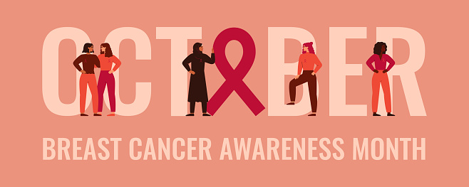 October Breast cancer awareness and prevention month banner. Strong women stand together