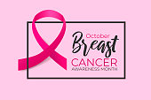 October breast cancer awareness month. Realistic pink ribbon on color background with black frame. Concept design banner, poster for woman health care. Vector medicine illustration