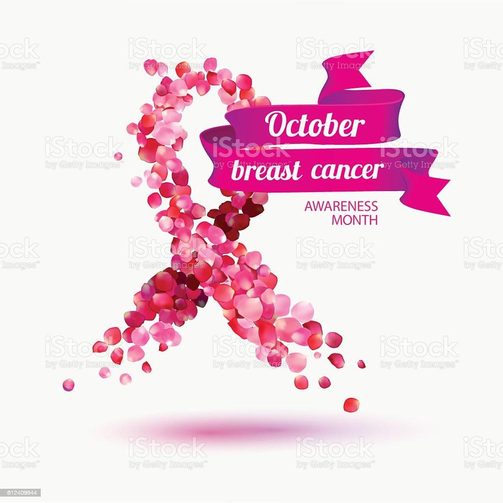 October - breast cancer awareness month vector art illustration