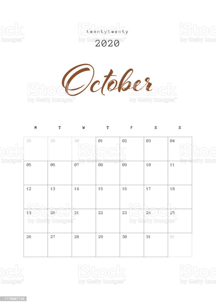 blank october calendar 2020 printable