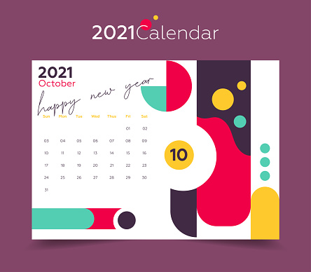 2021 October calendar. Colorful background and geometric shapes.