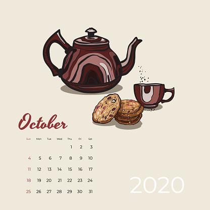 2020 October calendar food, tea art vector. Tea party sketched calendar. October page brown teapot, cup, oat cookies