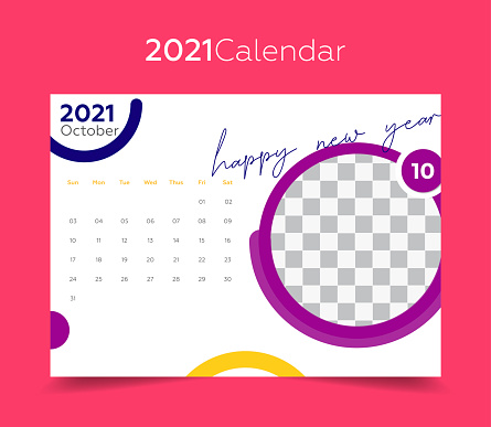 2021 october calendar. Pink background and colorful geometric shapes.