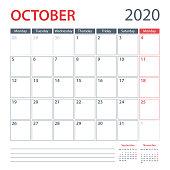 2020 October Calendar Planner Vector Template. Week starts Monday