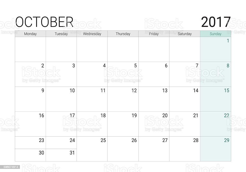 2017 October calendar (or desk planner) vector art illustration