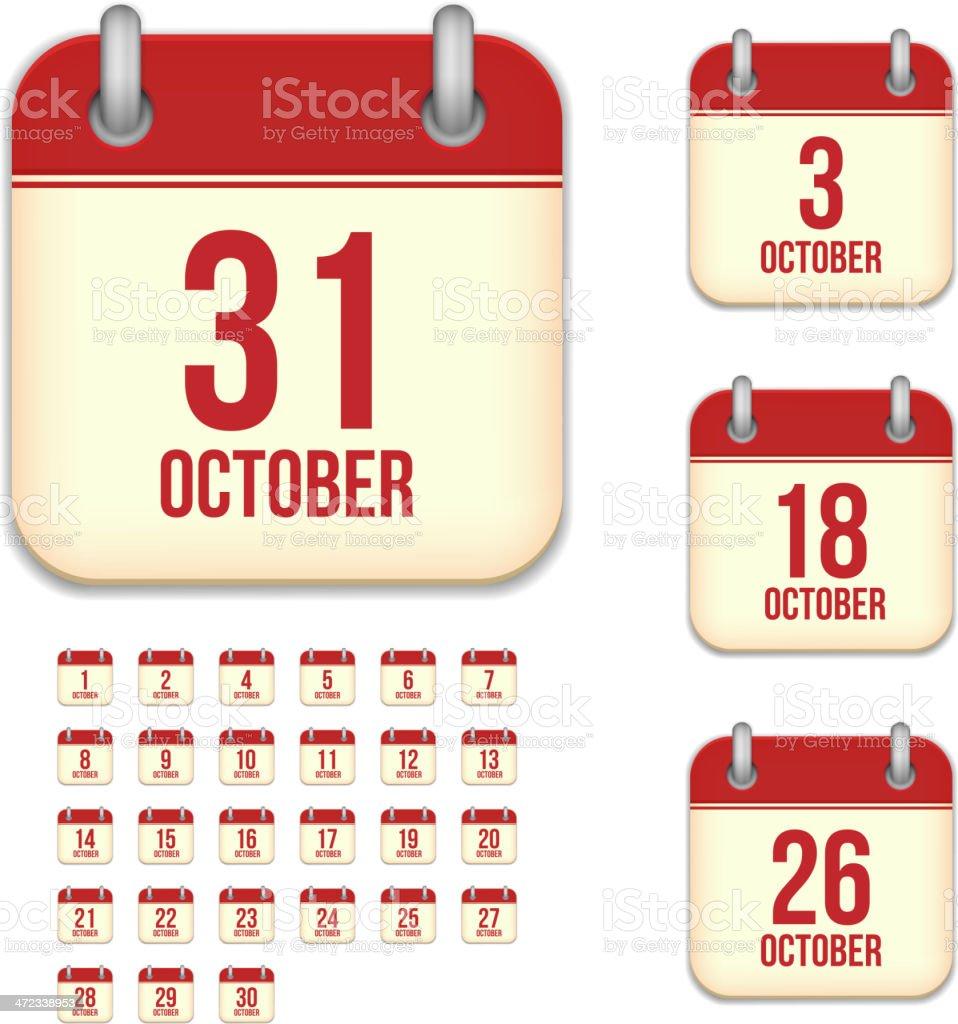 October days. Vector calendar icons vector art illustration