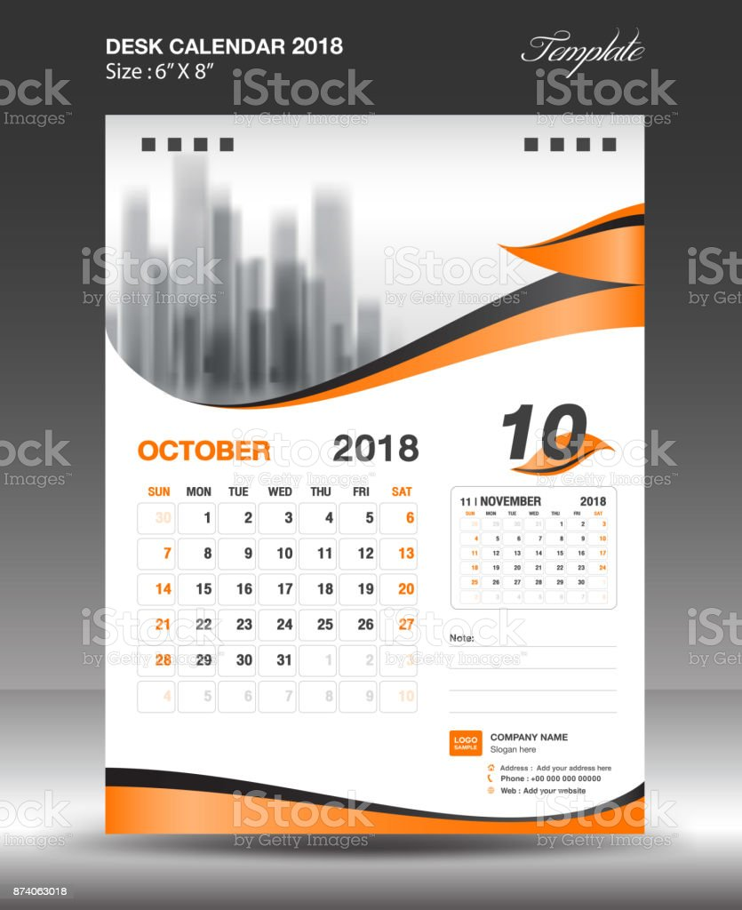 Calendar Design Ideas Vector : October desk calendar template design flyer vector