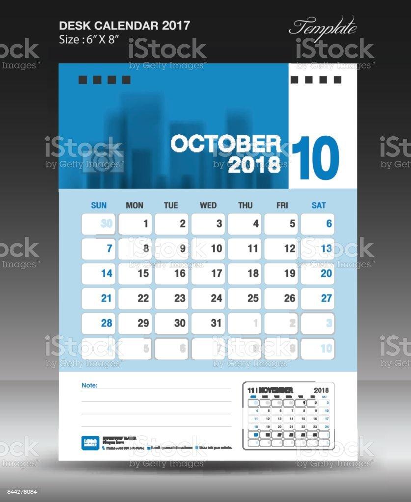 october desk calendar 2018 template design wall calendar 2018 vertical layout brochure flyer. Black Bedroom Furniture Sets. Home Design Ideas