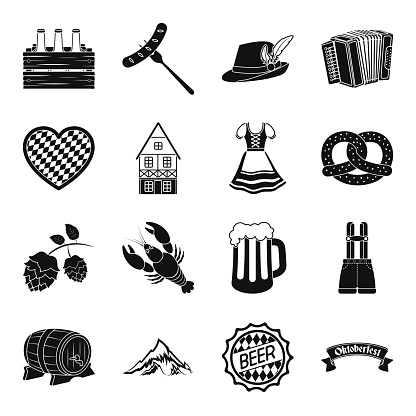 10 월 축제 디자인에 대 한 설정 컬렉션 뮌헨 블랙 아이콘 전통과 재미 벡터 기호 재고 웹 그림입니다 10월에 대한 스톡 벡터 아트 및 기타 이미지