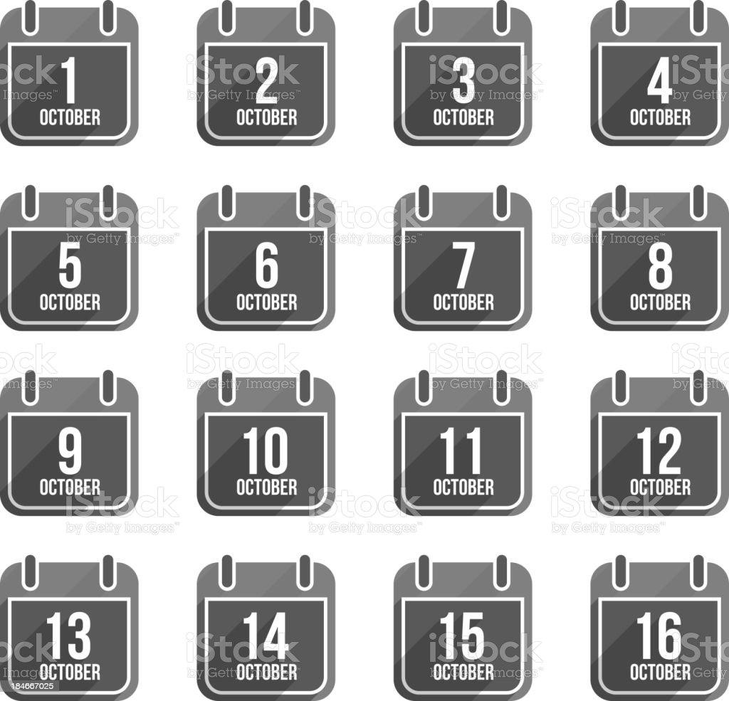 October flat calendar icons. Days Of Year Set 1 vector art illustration