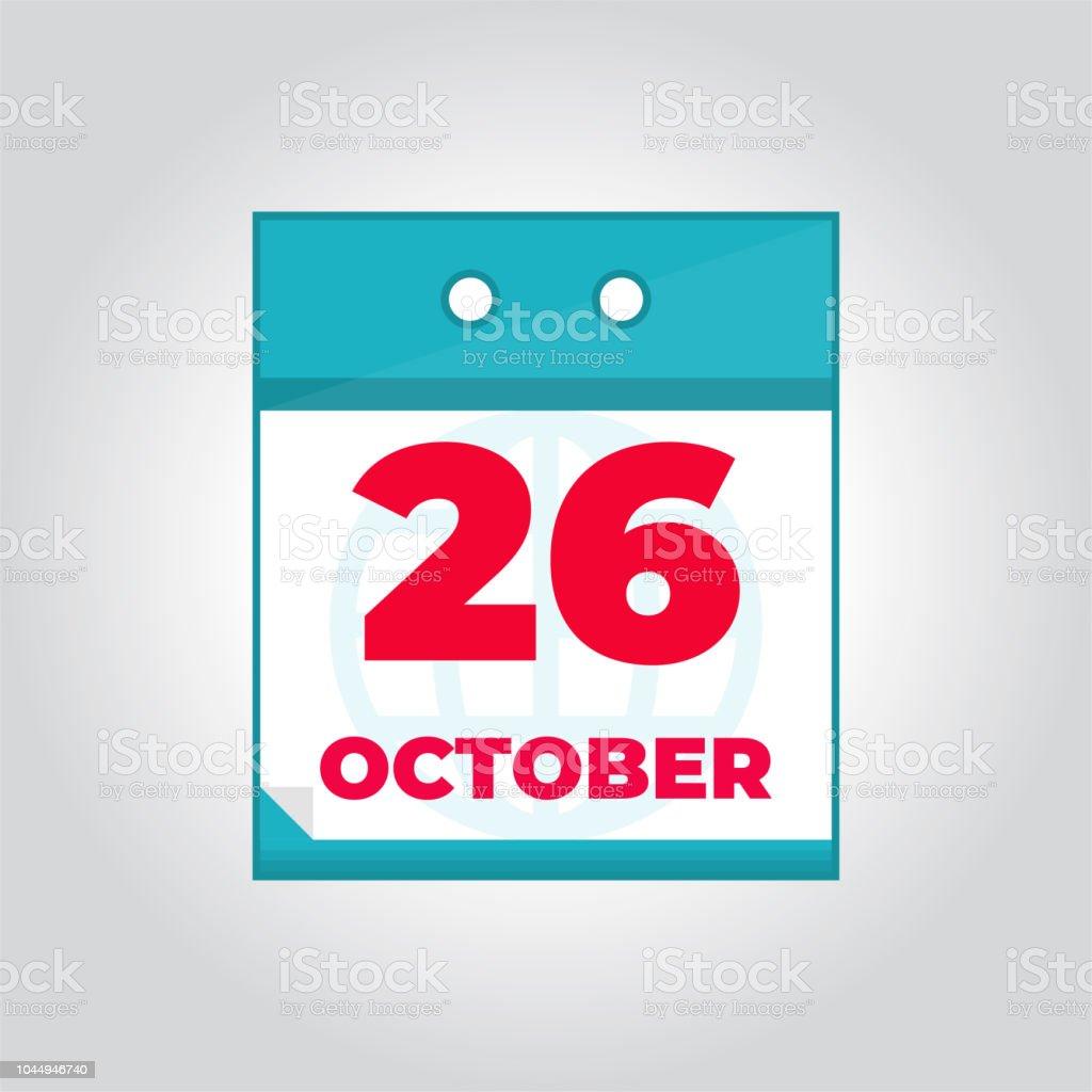 Calendario Diario.Ilustracion De Icono De Calendario Diario De 26 De Octubre