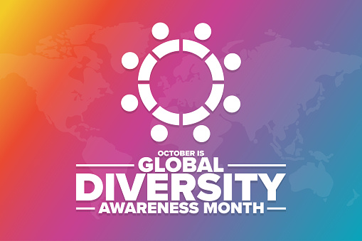 October is Global Diversity Awareness Month. Holiday concept. Template for background, banner, card, poster with text inscription. Vector EPS10 illustration