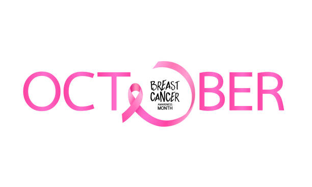 october lettering design with pink ribbon. - cancer patient stock illustrations