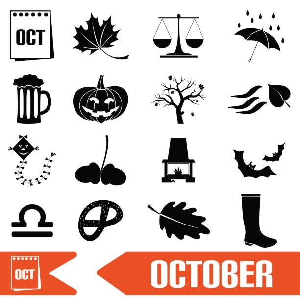 october month theme set of simple icons eps10 vector art illustration