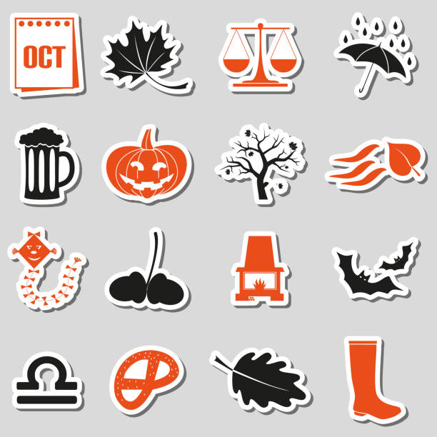 october month theme set of simple stickers eps10 vector art illustration