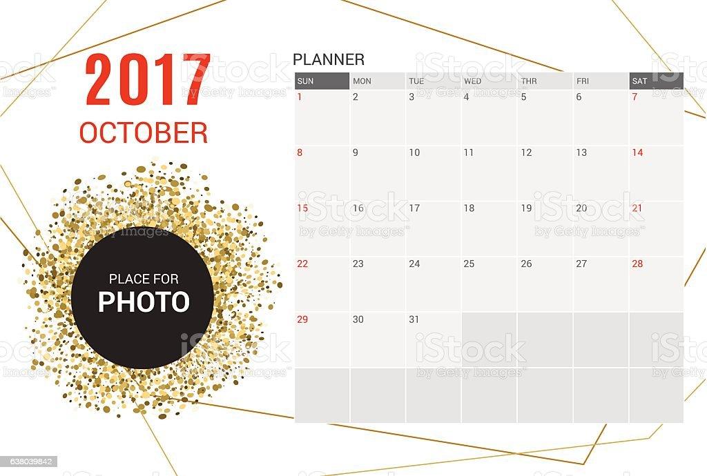 october planner calendar template 2017 yearweek starts sunday 2017