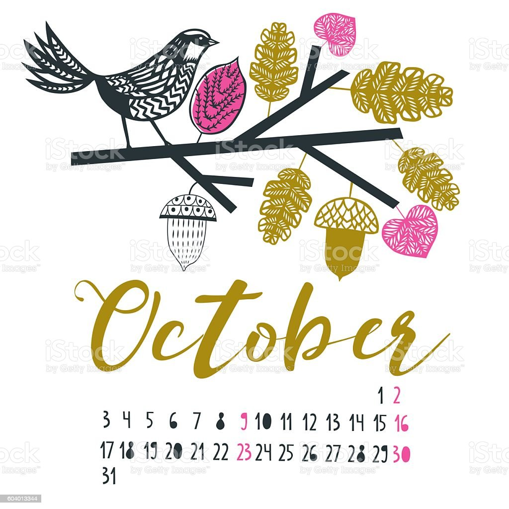 October Print Design - Illustration vectorielle