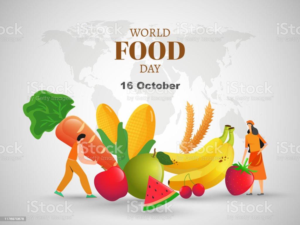 Ilustracion De 16 De Octubre Estandarte Del Dia Mundial De La Alimentacion O Diseno De Carteles Con Ilustracion De Hombre Y Mujer Frutas Maiz Zanahoria Y Trigo Sobre Fondo De Mapa Del