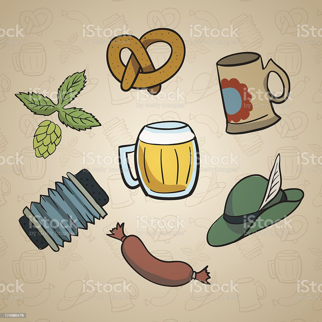 Octoberfest Cartoon Elements. royalty-free stock vector art