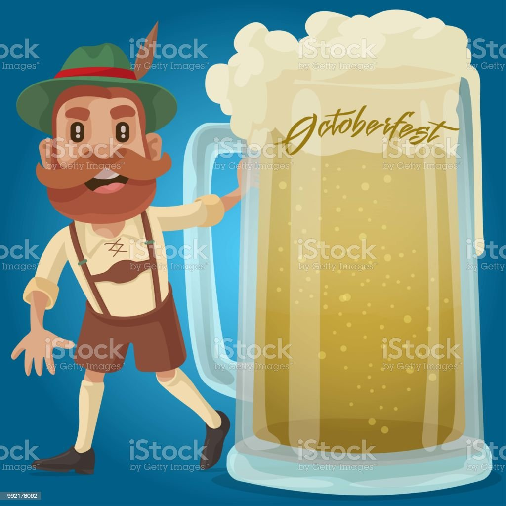 Octoberfest party guy! vector art illustration