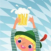 Young German Man is Holding a Beer Glass.