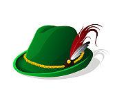Octoberfest Tyrolean Bavarian hat. Vector illustration.