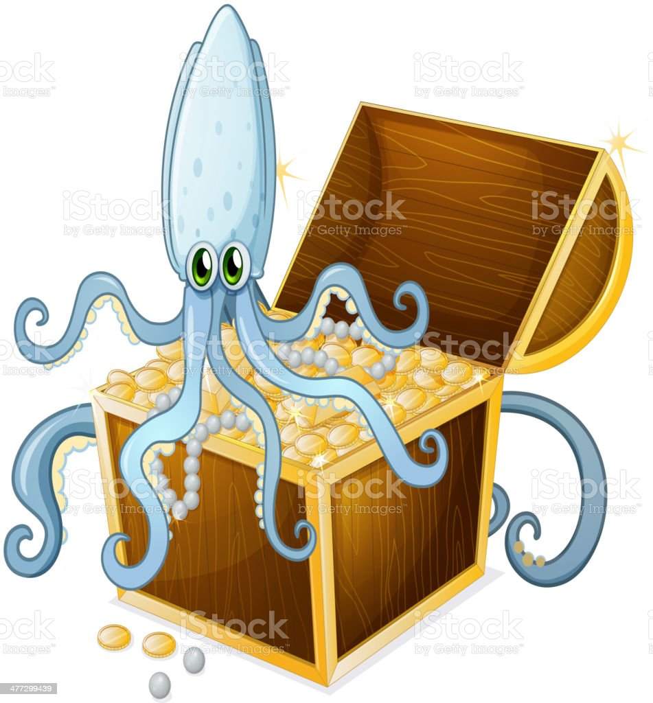 octopus above the treasure box royalty-free stock vector art
