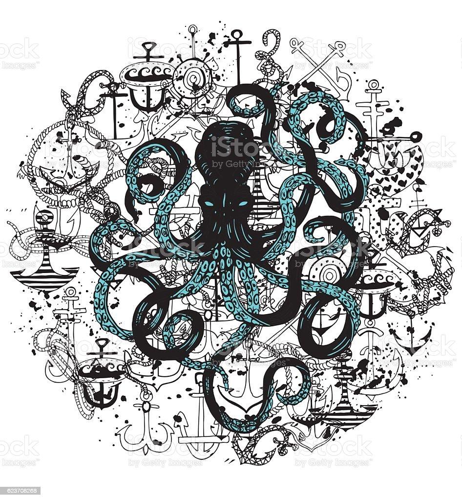 Octopus and  Anchors texture. Hand Drawn Sea Life Illustration. vector art illustration