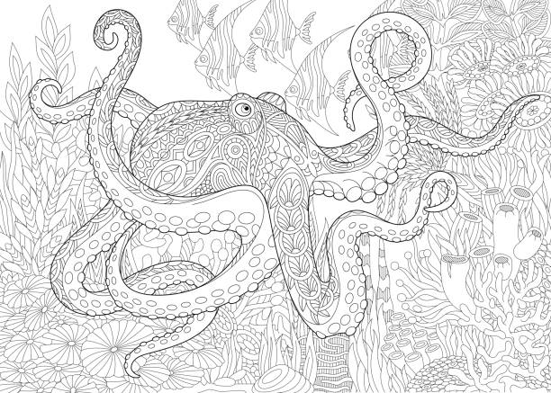 Octopus and tropical fish vector art illustration