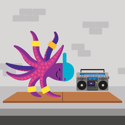 Vector illustration of an octopus breakdancing on a piece of cardboard on the sidewalk with a boombox behind.