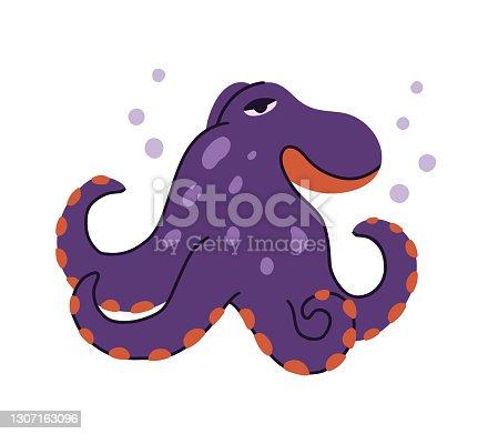 Octopus character. Cartoon hand drawn illustration of cute ocean animal