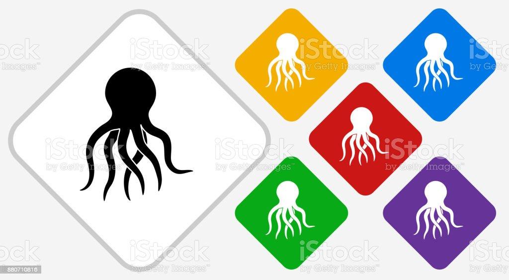 Octopus Color Diamond Vector Icon vector art illustration