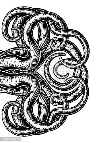 istock Octopus Cthulhu Squid Monster Tentacles Woodcut 1265965230