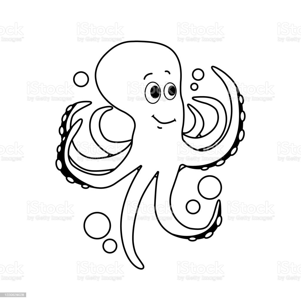 Octopus Cute Sea Animal Coloring Book For Children Vector Illustration Eps  10 Stock Illustration - Download Image Now - IStock