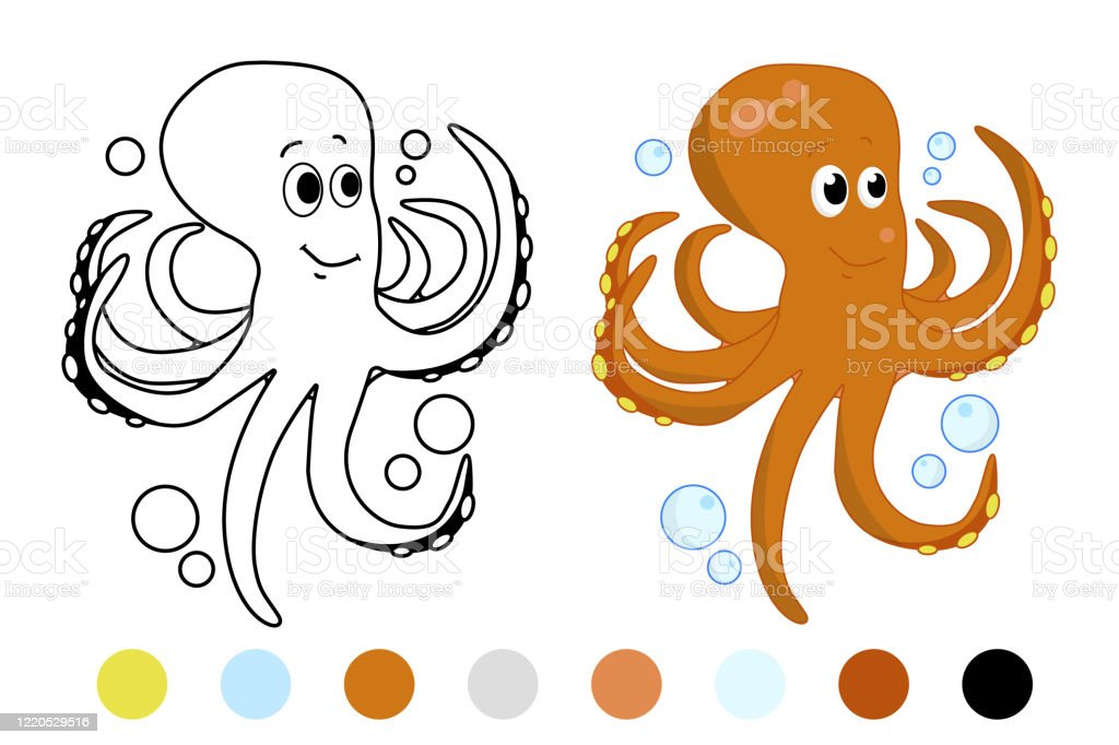- Octopus Cute Sea Animal Coloring Book For Children Vector Illustration Eps  10 Stock Illustration - Download Image Now - IStock